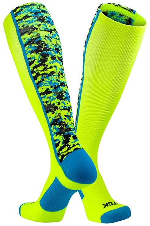 TCK Sports Digital Camo Over The Calf Socks (Neon Yellow/Electric Blue, Small)