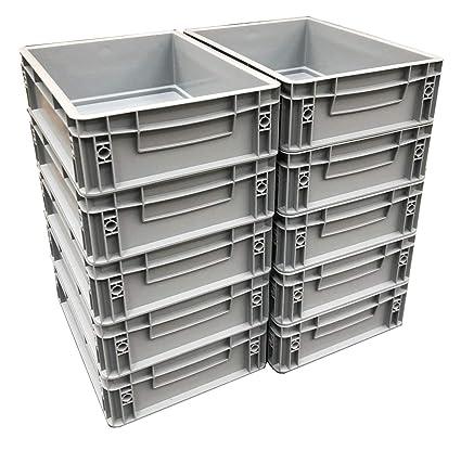 10 x 10 litros de plástico de alta resistencia de almacenamiento unidades cajas gris (10