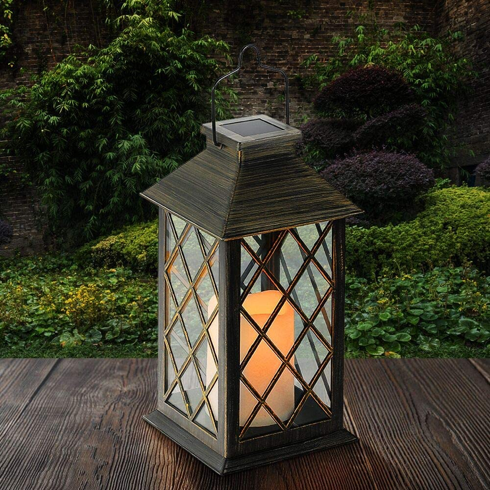 Amazon Com Tomshine Led Solar Lantern Waterproof Outdoor Lantern Solar Lights Outdoor Decorative Candle Light For Patio Courtyard Garden Home Improvement