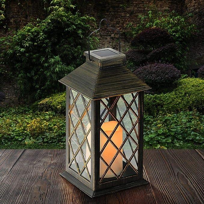 Tomshine Linterna Solar con Vela Efecto Luz LED Solar Jardín Lámpara,Estilo Vintage, Exterior Iluminación Balcón Jardín Faroles de Decoracion: Amazon.es: Iluminación