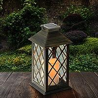 Tomshine Linterna Solar con Vela Efecto Luz LED Solar Jardín Lámpara,Estilo Vintage, Exterior Iluminación Balcón Jardín…
