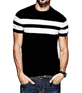 fa6ebe436b90 Veirdo Men s Cotton T-Shirt Black with White Strip Casual T-Shirts