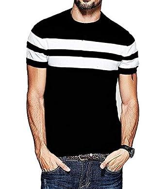 753c55ce7 Veirdo Men's Cotton T-Shirt Black with White Strip Casual T-Shirts ...
