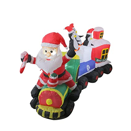 Amazon Com Northlight 4 5 Inflatable Santa On Locomotive Train