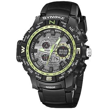 Logobeing Reloj Led Digital Multifuncional Hombre Pulsera Relojes Deportivos Impermeables 50M de Doble Acción Electrónica Digital Relojes Militares (Verde): ...