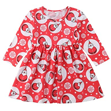 a615b2e70188a Amazon.com: Pudcoco Baby Little Girls Christmas Dress Long Sleeve ...