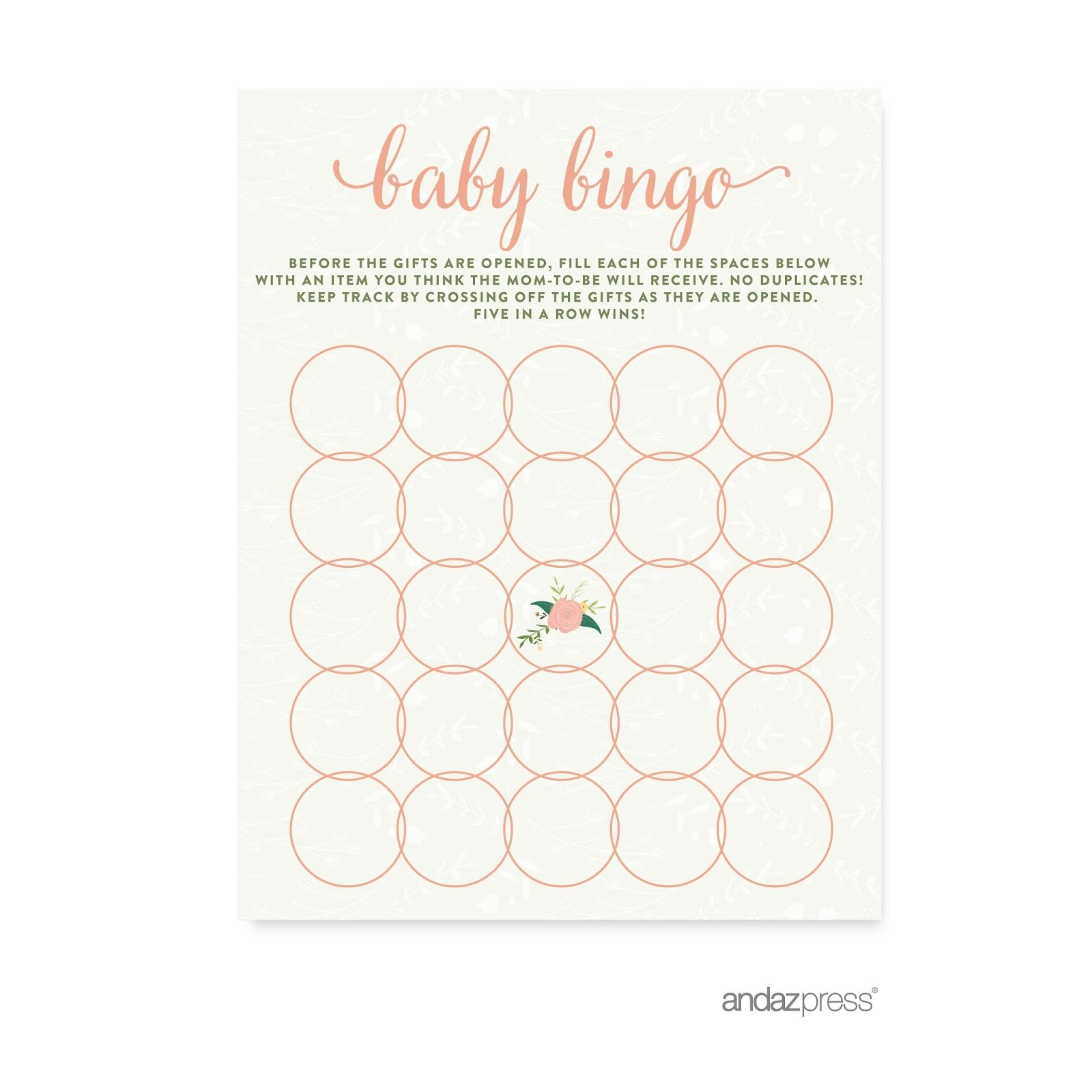 Andaz Press Floral Roses Girl Baby Shower Collection, Games, Activities, Decorations, Baby Bingo Game Cards, 20-pack by Andaz Press