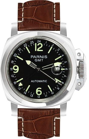 Parnis 9069 GMT - Reloj automático deportivo de acero inoxidable, resistente al agua hasta 5