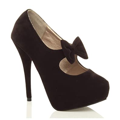 5211638d9b0ec Ajvani Womens Ladies Platform Pumps high Heel Bow Mary Jane Party Court  Shoes Size