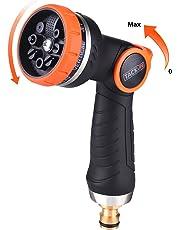 TACKLIFE Pistola de riego, Pistola de Jardín con Boquilla Metálica, 8 Modos Diferentes, Nueva Patente de Control con una Solo Mano, para Lavado de Autos, Riego de Plantas y Ducha de Mascotas-GHN2A