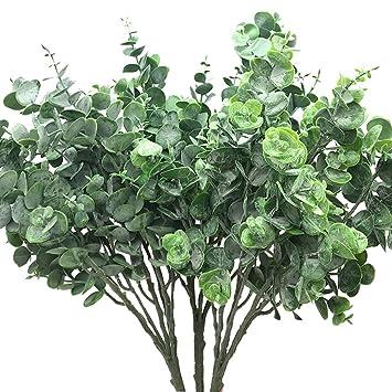 5e35f980f4eb82 Aisamco Lot de 3 Branche de Feuilles D'Eucalyptus Argenté Feuillage Fleurs Artificielles  Plantes Artificielle
