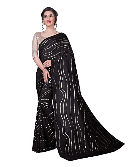 78ae001dd1e10d Clickedia Women's Pure Satin Silk Glamourous saree with Silver Foil print  all over solid golden blouse