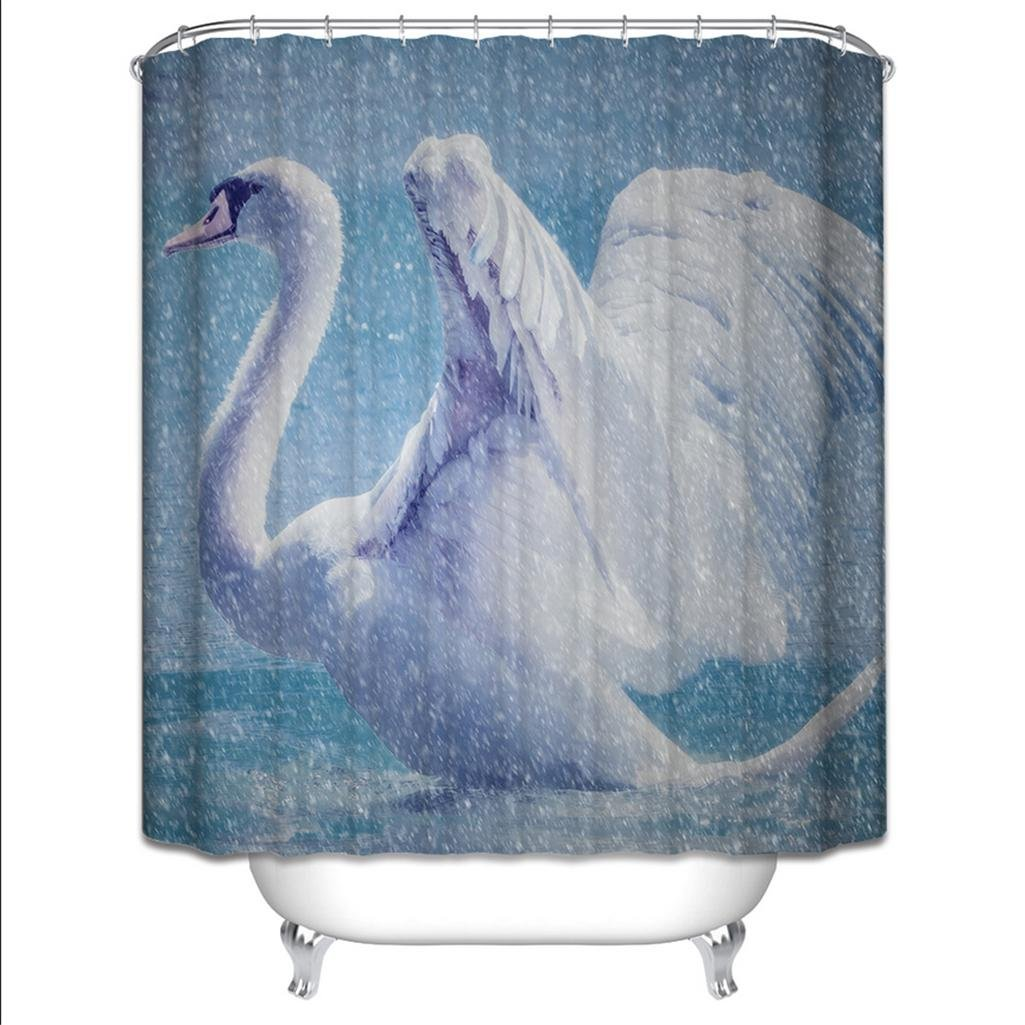 Amazon.com: GYMNLJY Shower curtain Polyester 3D Swan Printing ...