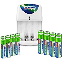 ACDelco Battery Charger, Includes 8 AA and 8 AAA Rechargeable Batteries