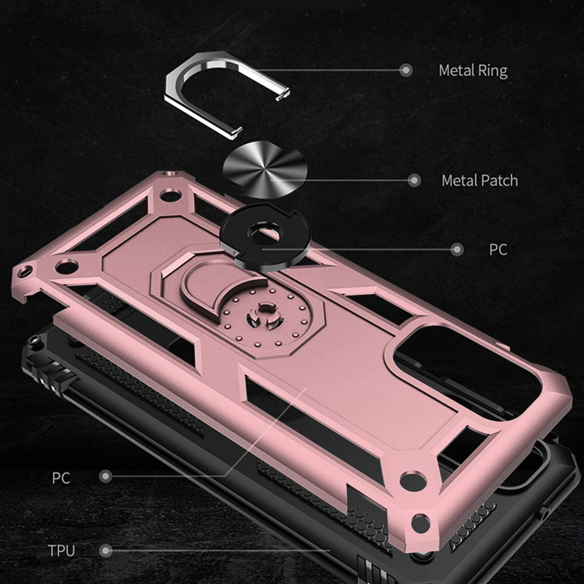 Rose Gold Suordii for Galaxy S20 5G Case Military Grade Drop Impact 360 Metal Rotating Ring Kickstand Holder Magnetic Car Mount Armor Heavy Duty Shockproof Case for Samsung Galaxy 20