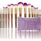 DIOLAN 17 Pcs Makeup Brushes Set for Foundation Blending Blush Concealer Eye Shadow with Synthetic Fiber Bristles & Wooden Handles, Includes Glitter Purple Travel Bag