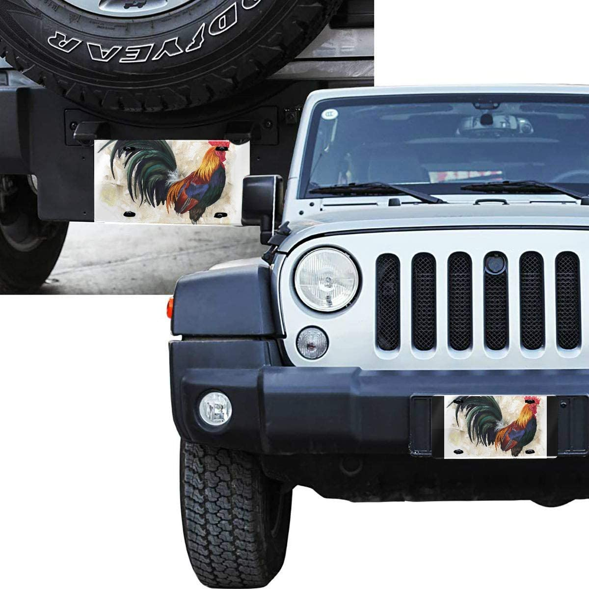 4 Hole Custom Packers License Plate Vanity Tag Aluminum Car Accessories Novelty Custom Front License Plate Rooster Digital Painting Rooster Cock Print License Plate Metal 6x12 in
