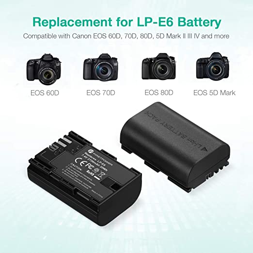 Amazon Com Firstpower Lp E6 Lp E6n Battery 2 Pack 2700mah And Dual Charger For Canon Eos 60d 70d 80d 5d Mark Ii Iii Iv 5ds 5ds R 6d 7d Xc15 Cameras Bg E14 Bg E13 Bg E11