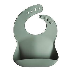 Mushie Silicone Baby Bib | Adjustable Fit Waterproof Bibs (Cambridge Blue)