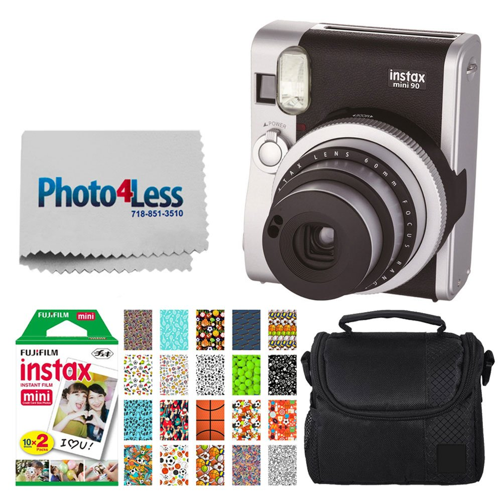 Fujifilm INSTAX Mini 90 Neo Classic Instant Camera (Black) + Fujifilm Instax Mini Instant Film (20 Exposures) + Compact Camera Case + Sticker Frames Sports Package + Photo4Less Cleaning Cloth by Photo4Less