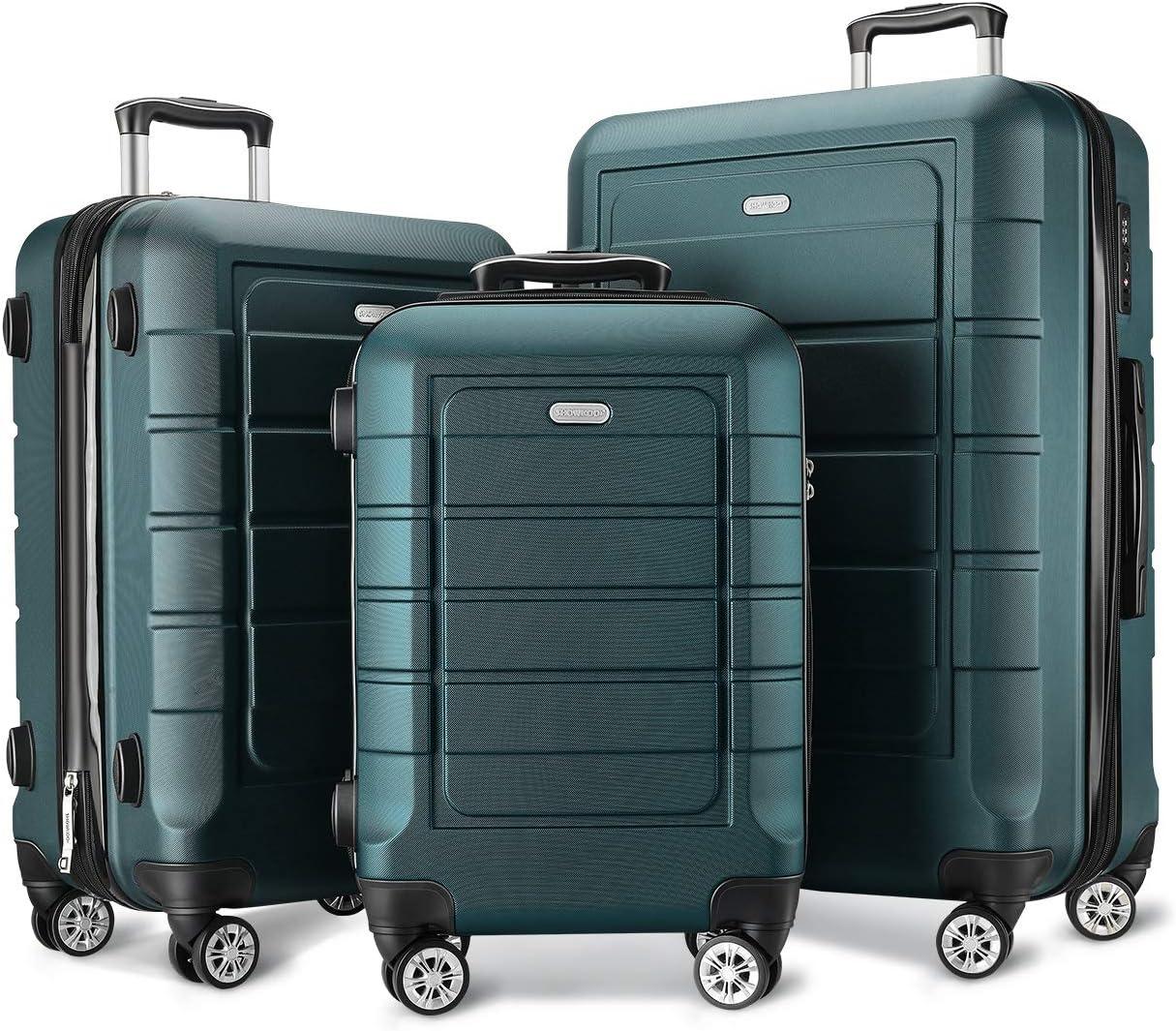 SHOWKOO Luggage Sets Double Wheels