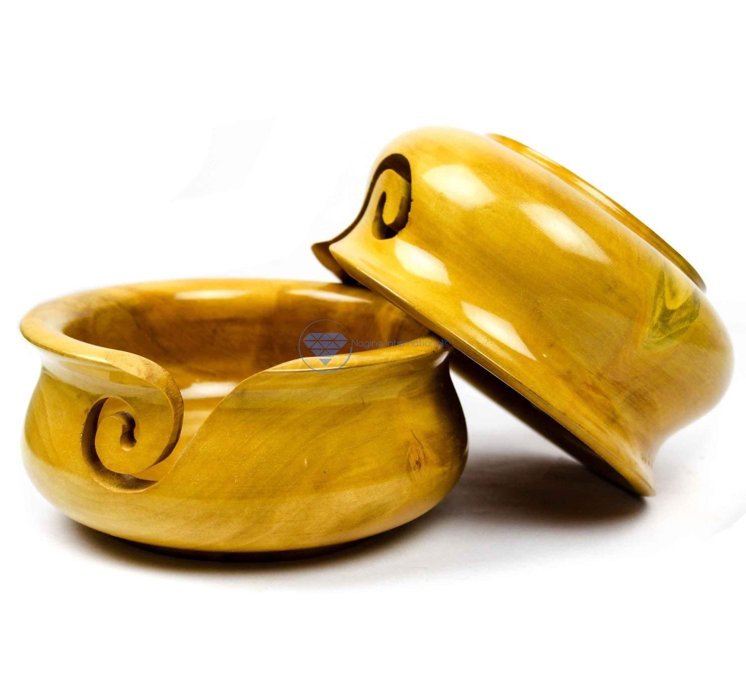 Large Wooden Mango Pot Styled Yarn Ball Storage Bowl Innovative Dispensing Curl | Nagina International yarnbowl3