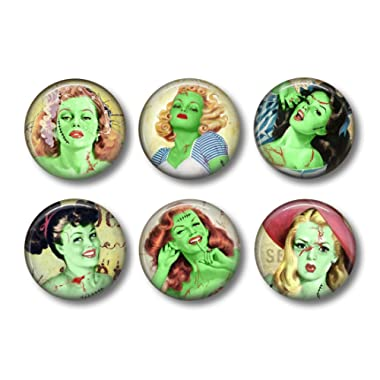 Zombie Magnets - Fridge Magnets - Frankenstein - Pin-Up Girls - Gothic Decor - 6 Magnets - 1.5 Inch Magnets - Kitchen Magnets - Gothic Kitchen - Horror Fan