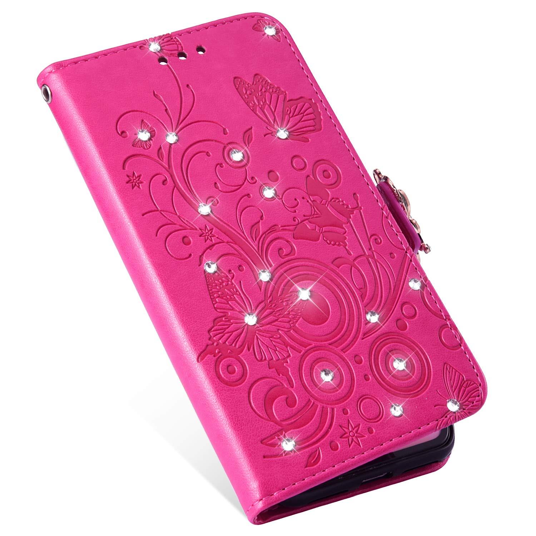 MoreChioce kompatibel mit Huawei P Smart Plus Lederh/ülle,kompatibel mit Huawei Nova 3i Handytasche Retro Gold Diamante Schmetterling Klapph/ülle Stand Flip Wallet Schutzh/ülle,EINWEG