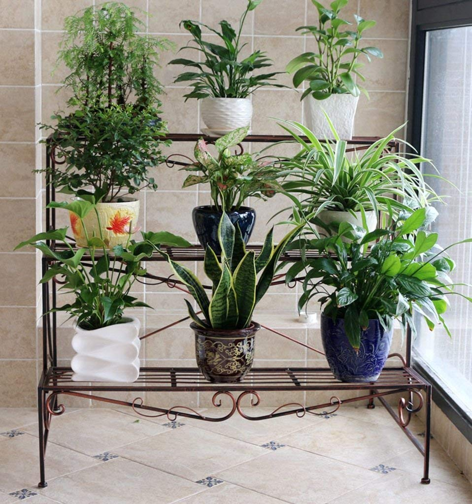 ガーデンフラワーポットラックホームフラワースタンド耐久性のある植物ラック フラワーラック、洋風のはしごバルコニーのリビングルーム床のスタイル三層植物の鉢棚60 * 60 * 58 cm耐食性、耐久性(色:#2) (色 : #3) B07PCQ8SP7 #3