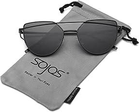 SojoS Gafas De Sol Mujer Ojo De Gato Modernas Marco Metal Lentes Planas De Espejo SJ1001