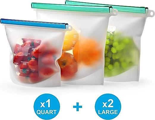 Reusable Silicone Food Storage Bag Set Of 3 By Kiva World Large Size 50 Oz Quart Freezer Bags Airtight Seal Hermetic Reusable Produce Bags