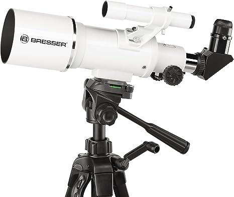 Bresser Optics Classic 70//350 Refractor 140x Negro Telescopio 65 cm, 2,3 kg, Aluminio, Aluminio Blanco