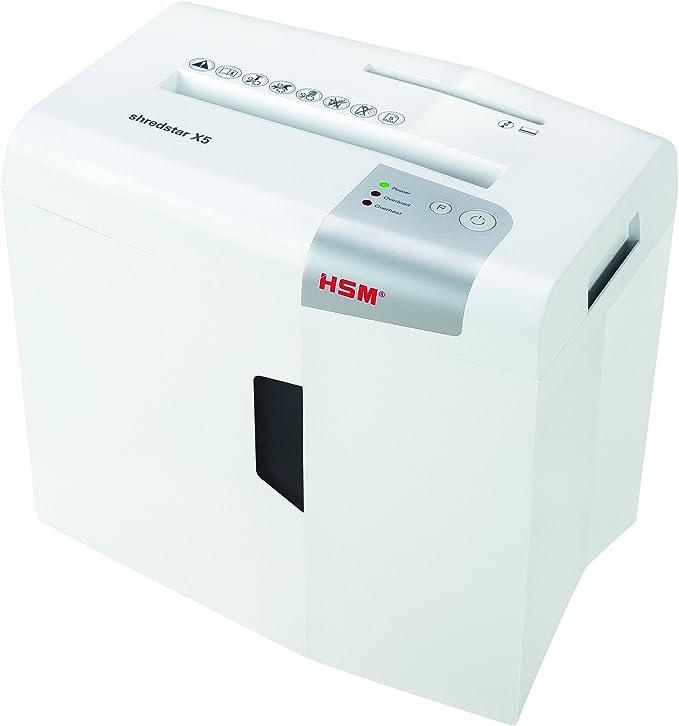 HSM Shredstar X5 - Destructora de documentos, 4.5 x 30 mm, color blanco plata