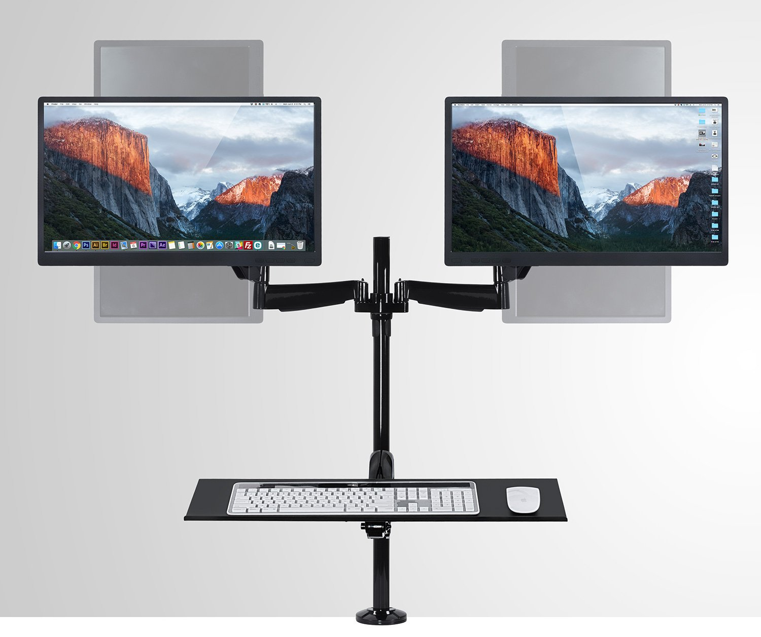 22 23 Black Mount-It C Clamp Base Gas Spring Arm 27 Inch Monitors MI-7922 24 Height Adjustable Standing Desk Dual Monitor and Keyboard Mount Ergonomic Sit-Stand Desk Mount Workstation