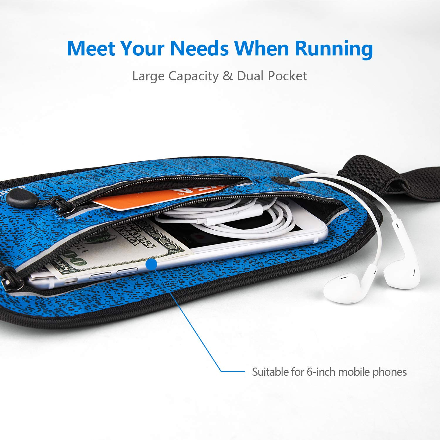 Running Waist Pack,Bounce Free,Pretty-Portable,Ultra-Thin and Next-to-Skin,Layered Pockets,Water-Proof,Sweat-Proof,Suitable for Cellphone Below 6 Inches FREETOO Running Belt