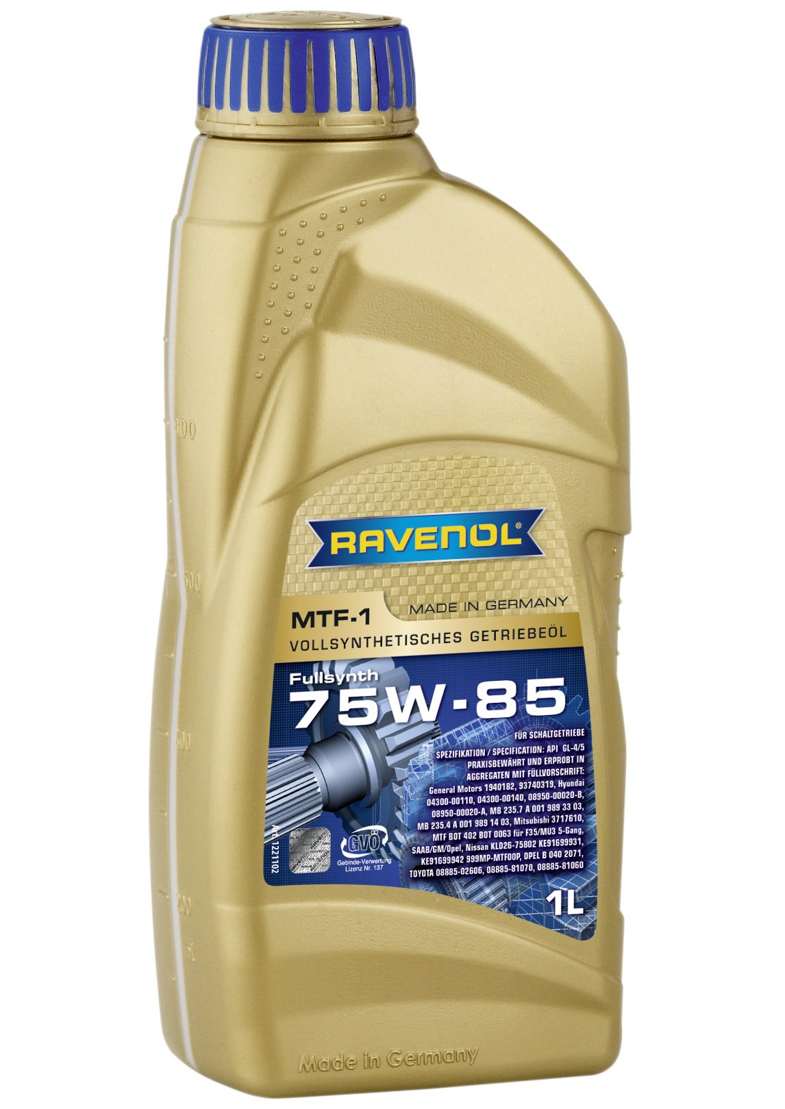 Ravenol J1C1000-001 SAE 75W-85 Manual Transmission Fluid - MTF-1 Full Synthetic API GL-4/GL-5 (1 Liter)