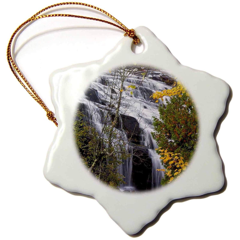 Ontonagon River 3dRoseBond Waterfalls Michigan US23 CHA0074 Chuck Haney Snowflake Ornament 3