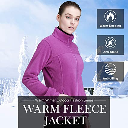 9cc3c4b0a Amazon.com: CAMEL CROWN Women Full Zip Fleece Jackets with Pockets Soft Polar  Fleece Coat Jacket Sweater for Spring Outdoor: Clothing