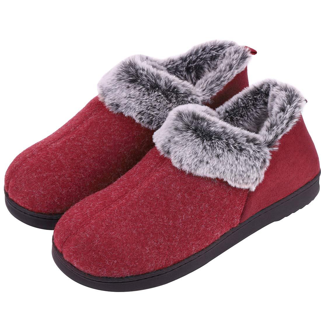 6bf6789ef3442 VeraCosy Ladies' Wool-Like Fleece Clog Slippers, Comfort Memory Foam  Anti-Slip