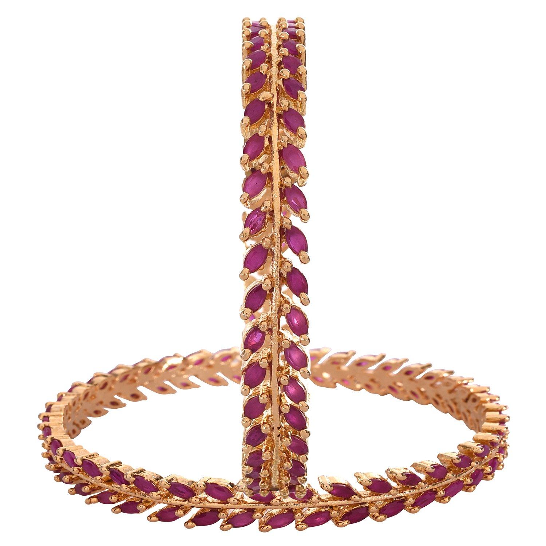 Ratnavali Jewels CZ Zirconia Gold Tone Red Marquise Diamond Bollywood Bangles Bracelet Jewelry Women RV2197R