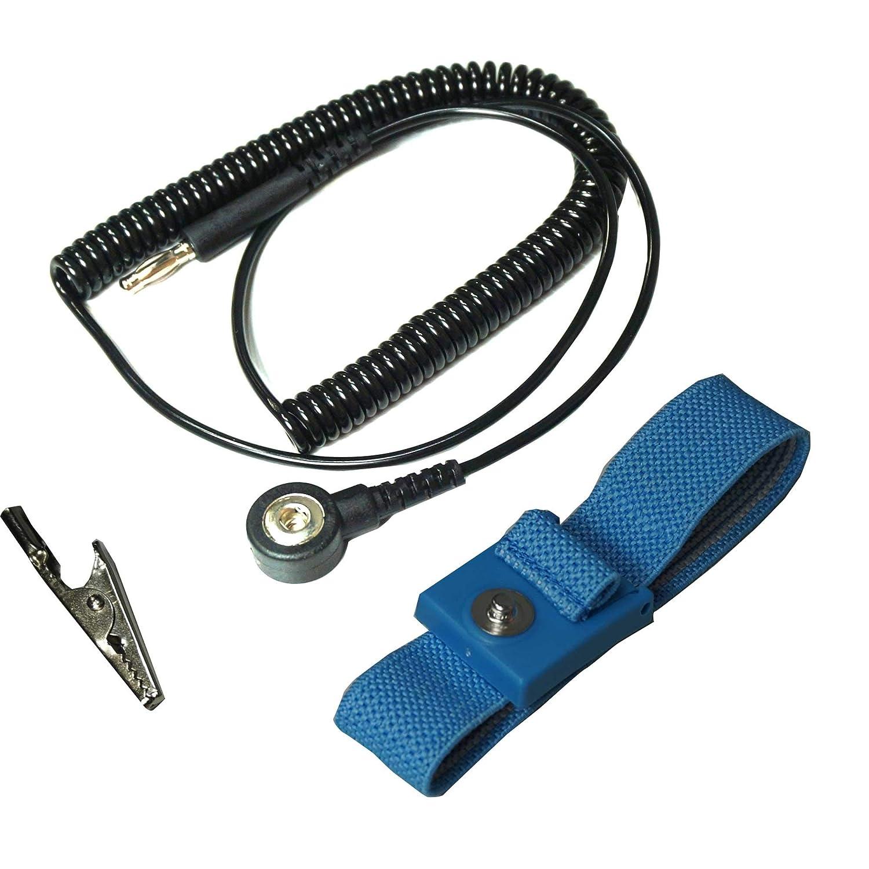 4mm Swivel Type Banana Jack Static Care Wrist Strap Set Quantity 1 1meg Blue Wrist Strap 5 Coil Cord