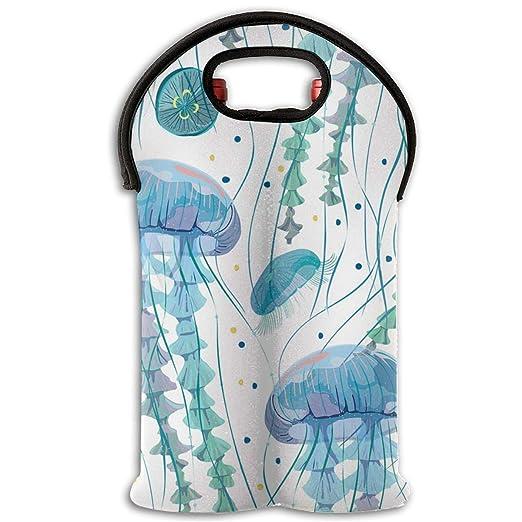 Bolsas para botellas de vino Medusa rosa azul en algas ...