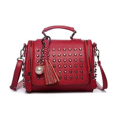 Amazon.com  Luxury Handbags Women Bags Designer Handbags PU Leather Bag  Retro Rivet 535e5883b35e4