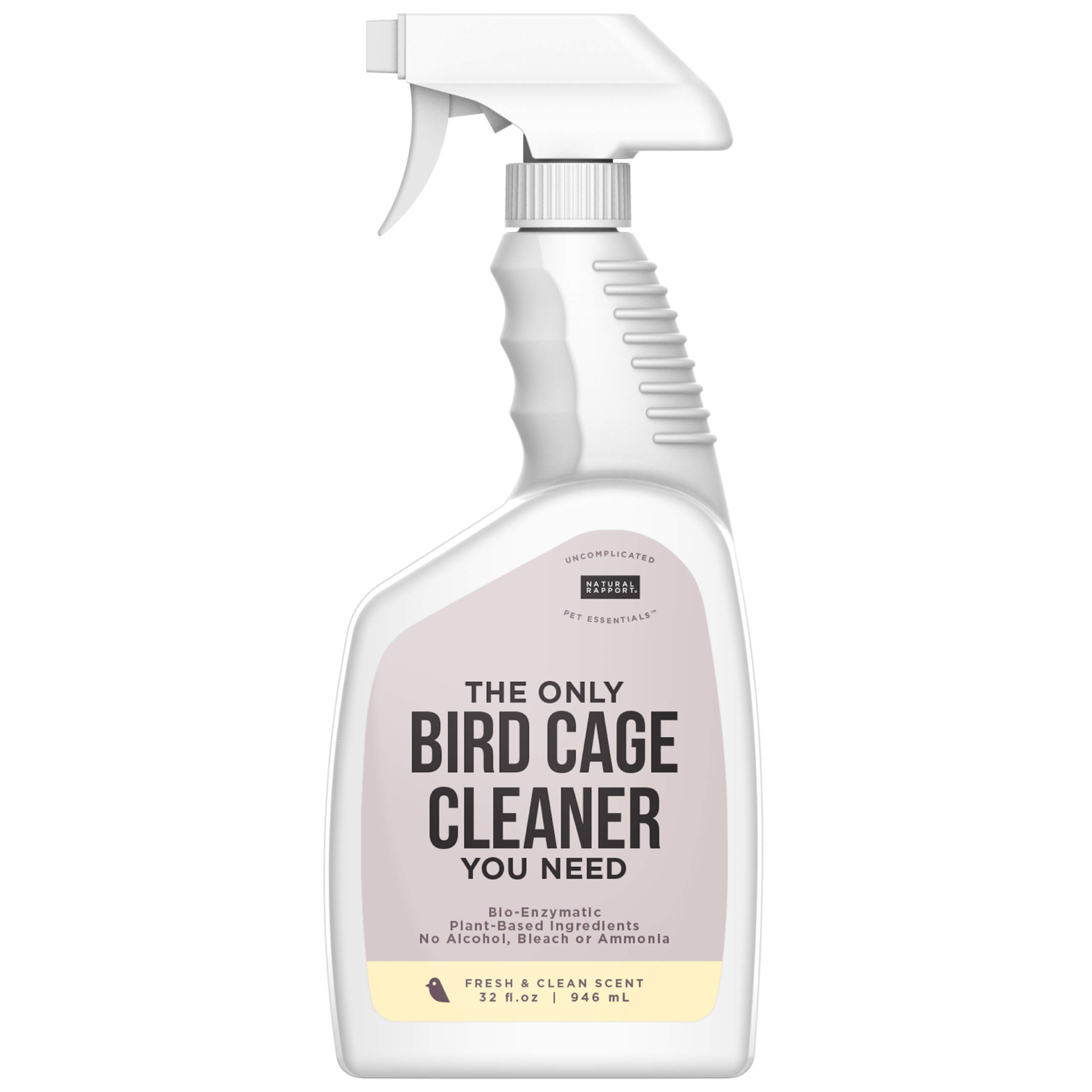 Natural Rapport Bird Cage Cleaner - The Only Bird Cage Cleaner You Need, Bird Poop Spray Remover, Naturally Removes Bird Waste (32 fl oz.) by Natural Rapport