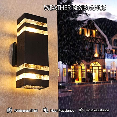 ANJULL Wall Sconce Waterproof Porch Lights, Outdoor Modern Wall Lamps,3000k Warm White, Waterproof Outdoor Up Down Light for Door Way, Entry, Corridor, Garage Not Included E26 Bulbs
