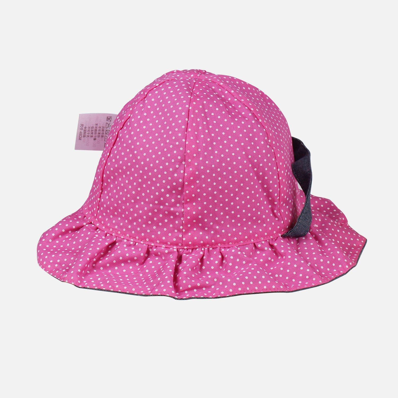 Toddler Baby Girls Denim Sun Hats with Chin Strap Kid Summer Cotton Sunhat Polka Dot Caps by HUIXIANG (Image #3)
