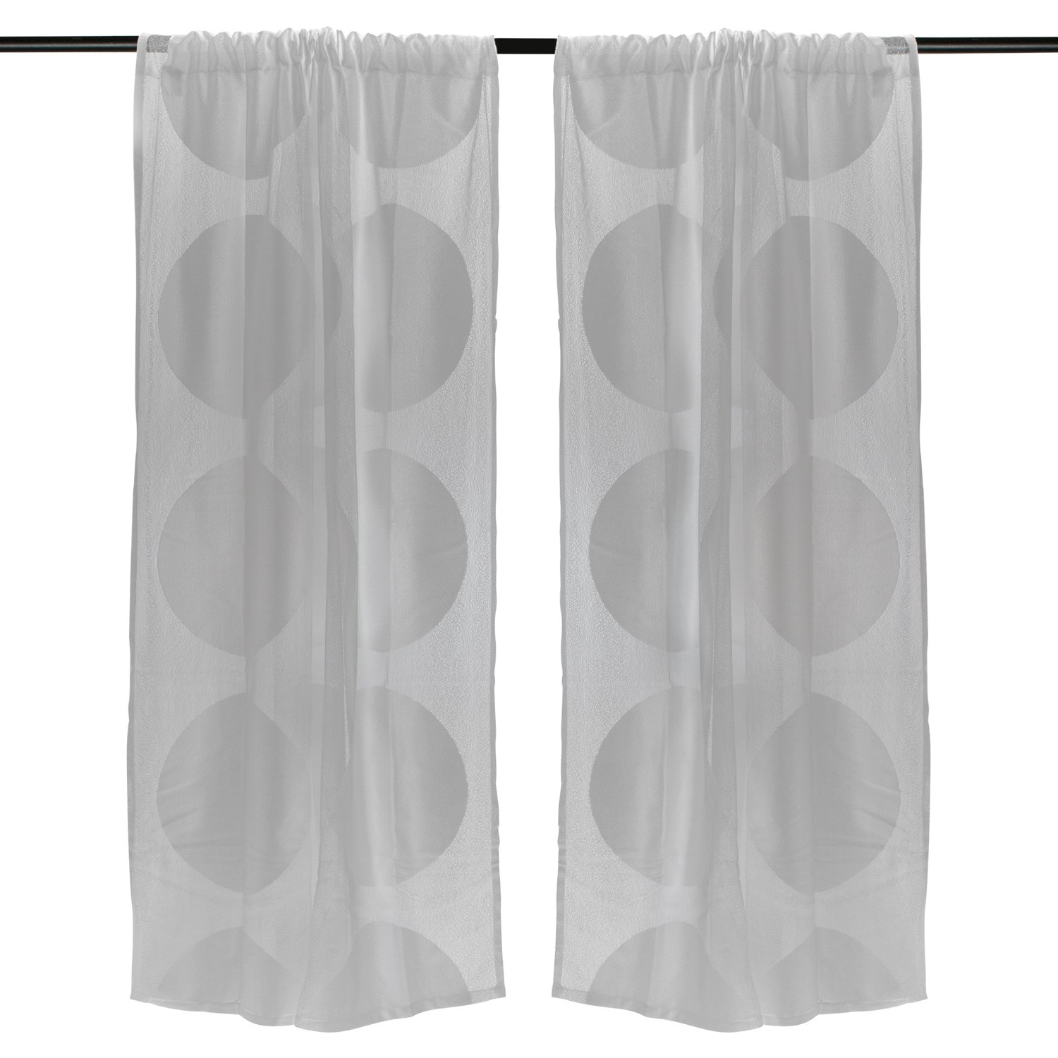 DII Elegant Decorative Sheer Curtain, Panels, Window Treatments or Drape, For Small Windows, in Living Room, Kitchen, Bedroom, Kids Rooms, 50x63 (Set of 2) - White Lattice CAMZ33456