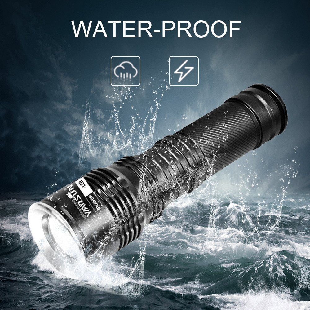 Niubity Warsun LED Tactical Lantern Flashlights T6 1200 Lumen Outdoor Water-resistant Light with 18650 Rechargeable Battery and Charger for Hiking,Hunting,Fishing and Camping