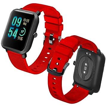 Th-some Correa para Amazfit Bip Impermeable Universal - Reemplazo de Pulsera Ajustable para Xiaomi Huami Amazfit Bip bit Lite Youth Watch, Rojo Sin ...