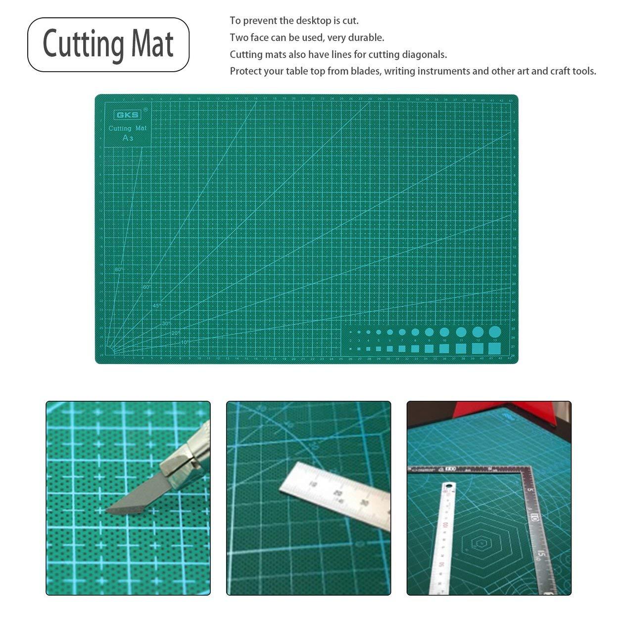 Stuoia di taglio di 3MM del doppio del lato del PVC della stuoia di taglio universale del PVC di 300 * 450MM A3 rispettoso dell'ambiente (colore: verde) Dailyinshop